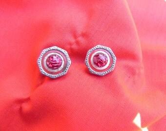 Vintage Earrings  Cuff ButtonsMade Into Pierced  Post Earrings Pink Silver Tone Metal