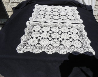 Vintage  Place Mats Crocheted  Cotton Thread Two