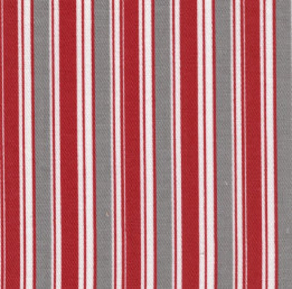 Red Gray and White Striped Twill Fabric by Fabric Finders - 1 yard