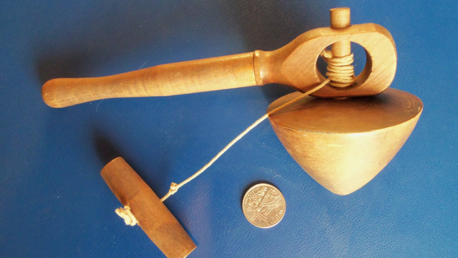 Vintage wooden pull string spinning top by ...