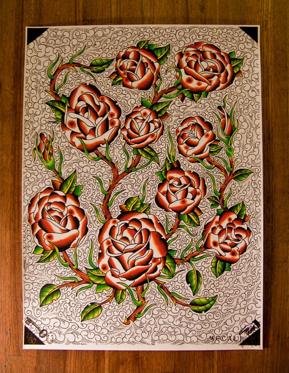 Traditional tattoo roses by david mccall limited fine for David mccall tattoo