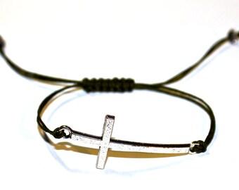 Sideways Cross, Celebrity Bracelets, Sideways Cross Bracelet - Sideways Cross - Retro Silver Cross pendant -adjustable bracelet