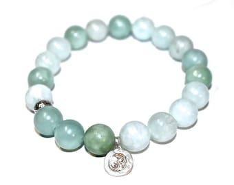 Yoga Bracelet - Ohm Charm bracelet, Lotus Charm bracelet, meditation bracelet, Mala Beads Bracelet, Boho Spiritual Jewelry, Zen Jewelry