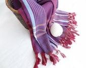 Traditional Turkish Towel-Ottoman Peshtemal-Burgundy & Blue Pesthemal
