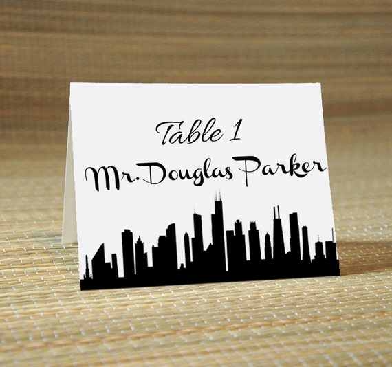 The Skyline Wedding Calligraphy For Place Card Escort Card