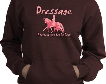 Dressage A Horse Lover's Pas de Deux Brown Hooded Sweatshirt