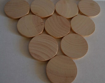 """2"""" Wood Discs - Set of 10 - Wood Coin - 2 Inch Wood Circles - Unfinished - Wood Round - 1/4"""" Thick - 2 Inch Wooden Discs -2 Inch Wood Rounds"""