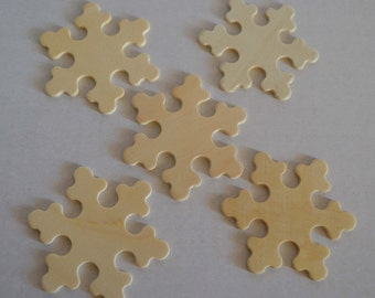 """3"""" Snowflake - Set of 5 Unfinished Wood Snowflakes- 1/8"""" Thick - DIY Christmas Ornament Wooden Snowflakes"""