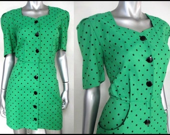 1980S green and black polka dot structured dress with black buttons