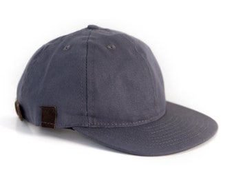 Gray Baseball Cap, 6 Panel Snapback Hat, Canvas Leather Snapback, Ball Cap Made in the USA