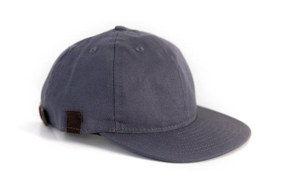 Gray 6 Panel Canvas Leather Snapback Ball Cap Hat