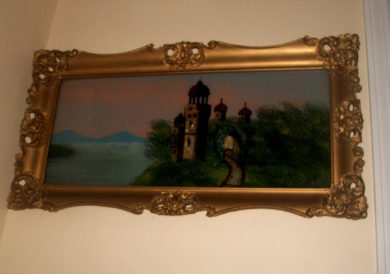 Gorgeous Antique Reverse Glass Painting Of A Castle On Water