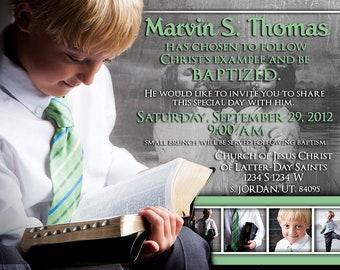 Baptism Invitation / Announcement, Customize, Printable, LDS Baptism Invitation, boy or girl