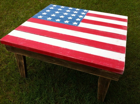Items Similar To Rustic American Flag Coffee Table On Etsy