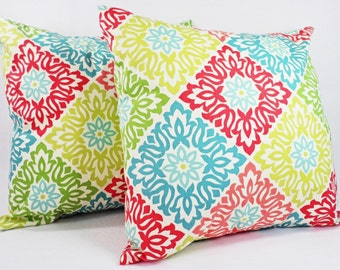 Two Decorative Pillow Covers - Pillow Covers in Coral and Teal - Coral Throw Pillows - Teal Coral Pillow Cover - Coral Pillow Sham