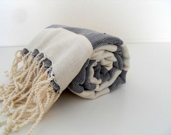 Best Quality Turkish Towel, Peshtemal, Handwoven, Natural Soft Cotton, Bath and Beach Towel, Black And Ecru Towel