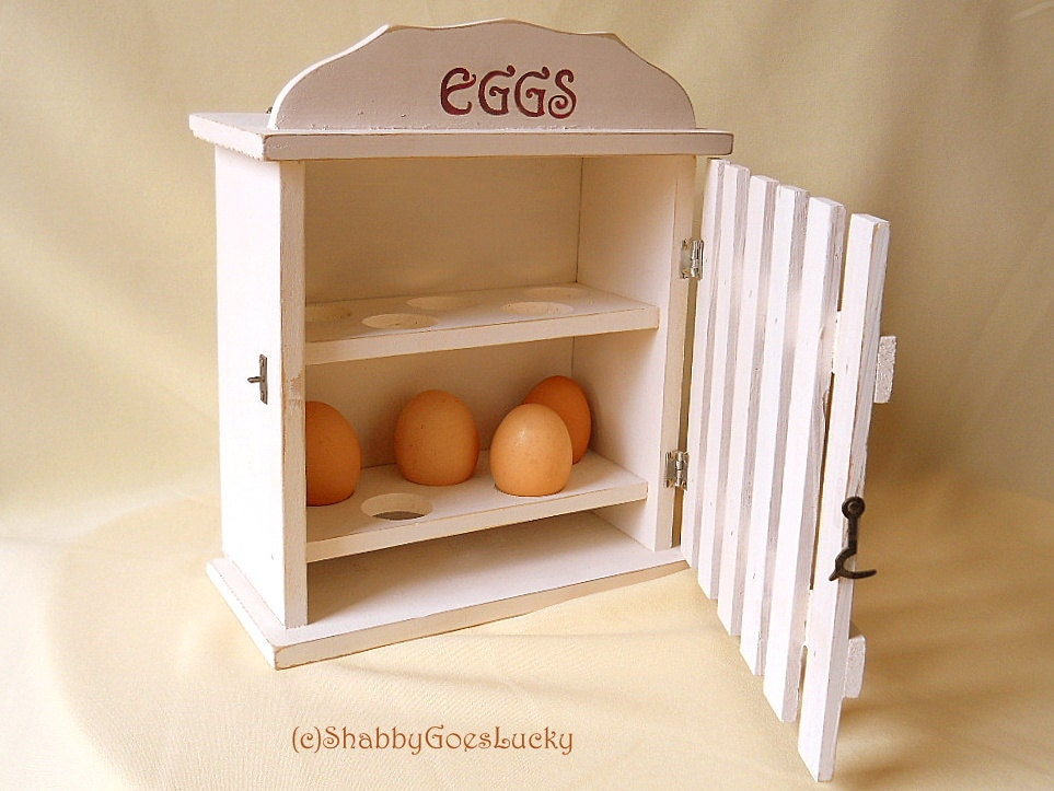 Rare Wooden Egg Box With Door Kitchen Cabinet For Storing