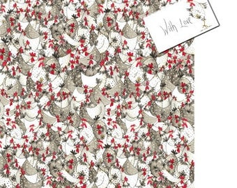 Chicken Wrapping Paper - Easter Wrapping Paper, Chicken Gift Wrap, Chicken Gift, Hotch Potch Chickens