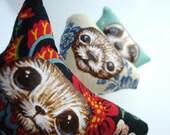 Holiday Ornament Set of Hand Painted Wildlife Animals Fennec Fox, Bear, Raccoon