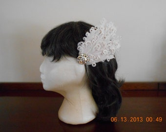 Champagne Curled Feather Wedding Fascinator with Vintage AB Brooch.