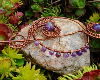 Amethyst Wire Wrapped Scarf/ Shawl Pin, wire wrapped jewelry handmade