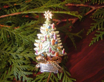 40% CLEARANCE SALE! Choice of Hand-painted  Dresden Pin Brooch; Christmas Tree or Santa