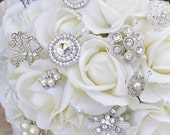 Wedding Brooch Bouquet with Jewels Crystal and Pearl - Silk Flowers Roses Briddal
