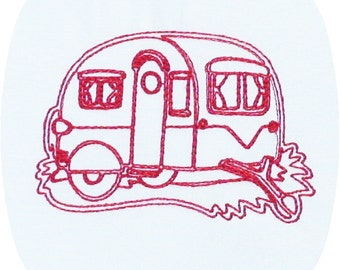 Instant Download Camping Redwork Embroidery Designs 4x4