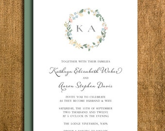 Printable Floral Wedding Invitation & Reply Card
