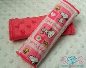 Snoopy & Woodstock Best Friends Hot Pink Minky Car Seat Strap Covers
