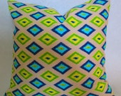 "Premier Prints Carnival sunshine decorative throw pillow cover lime green and blue trellis geometric 14x14 16X16 18x18"" 20x20"" 22x22"" 24x24"" - LivePlush"