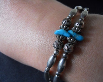 Hip Little Vintage Turquoise and Silver Bracelet