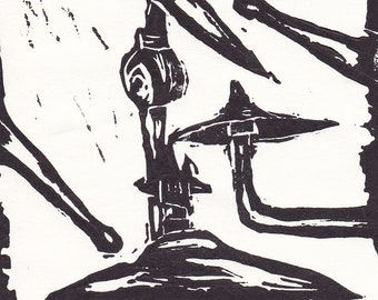 cymbals linocut