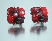 1940's Cherry Red Glass Leaf Earrings Vintage