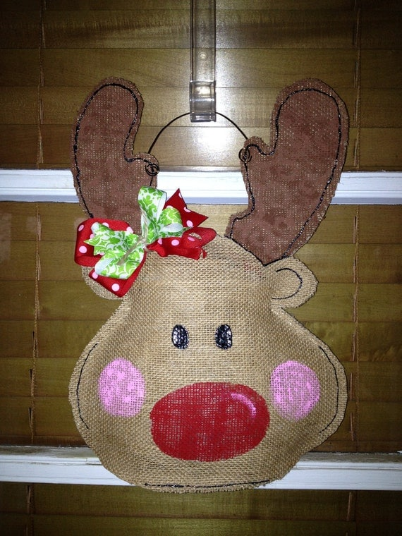 Items Similar To Funny Sweatshirt Cool Baseball Tshirt: Items Similar To Rudolph The Red Nosed Reindeer Burlap