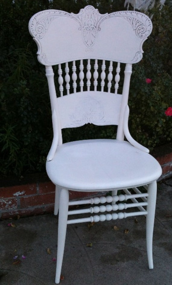 Chair Painted Antique Press Back Wood
