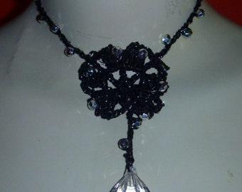 black crochet necklace