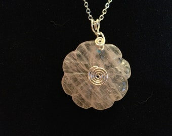 Rose Quartz 30mm Flower Donut with Silver-Plated Accents and Chain