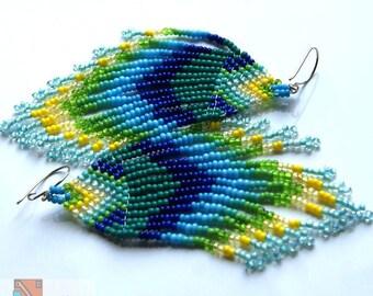 Earrings Transparent Water  peyotle stitch beadwork
