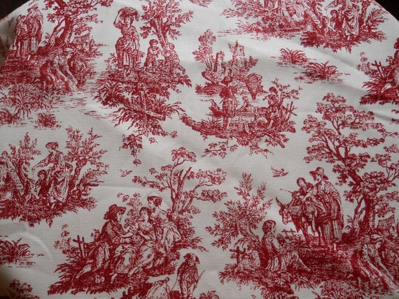 Red Toile Fabric Burgandy Toile Fabric French Toile Fabric