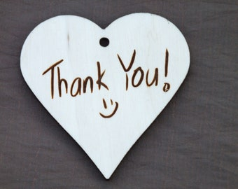 1 Wooden Heart Engraved Decoration ' Thank You -) ' Hanging Unpainted Smile Shape