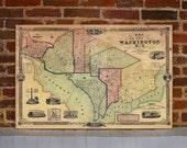 1851 Washington DC Vintage Map Canvas Print