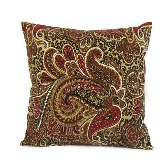 Brown Paisley Pillow Cover Taupe Burgundy Throw Toss Accent