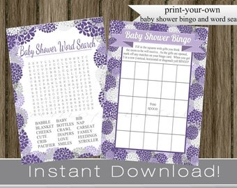 Purple Baby Shower Games, Bingo and Word Search Cards for girl, hydrangea flowers, INSTANT DOWNLOAD digital printable files, babyshower idea