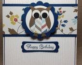 The Paper Hen: Owl Happy Birthday Handmade Card HB2