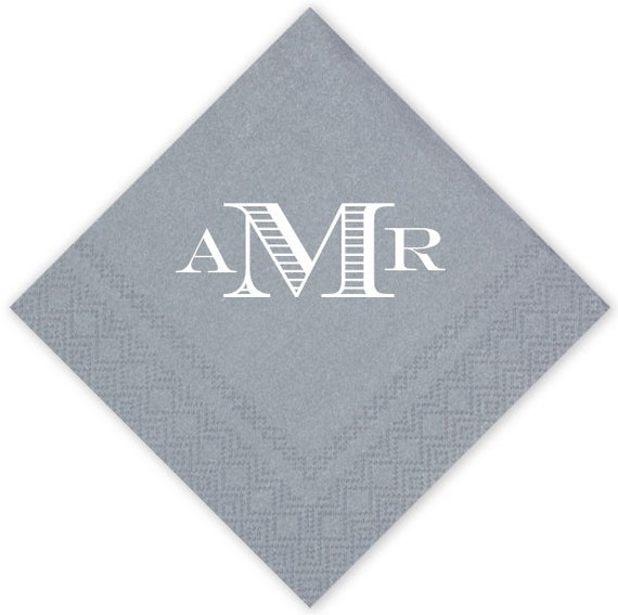 personalized luxe wedding cocktail napkins set by graciousbridal