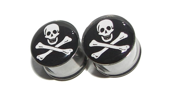 """Jolly Roger Plugs - 1 Pair - Sizes 8g to 2"""""""