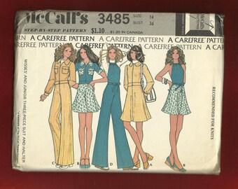 Vintage 1973 McCall's 3485 Short Jacket Flirty Mini Skirt Wide Leg Pants & Halter Top Size 14 UNCUT
