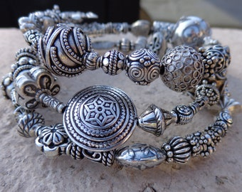 Loose fitting large coiled Sterling Silver Bali Bead Bangle Bracelet, One-of-a-kind Handmade Sterling Silver Bali Beads, OOAK