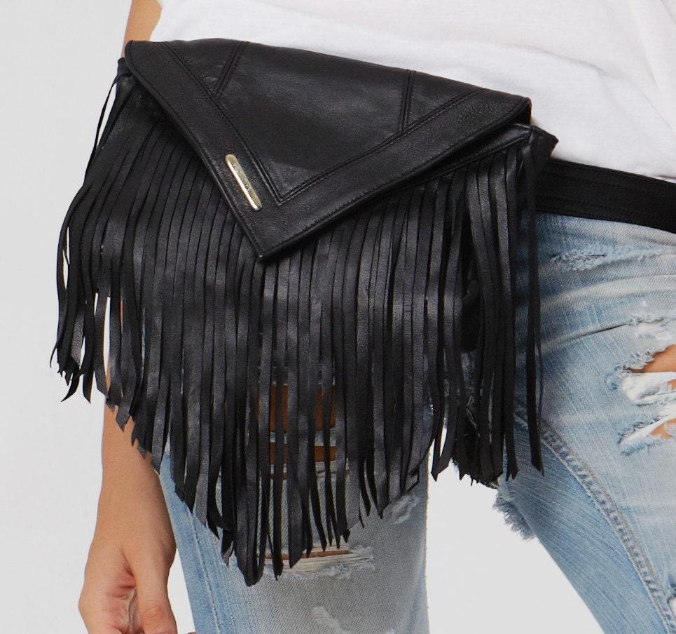 fringed leather belt bag bum bag in black